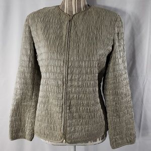 Armani Collezioni Taupe Pleated Zip Jacket 8